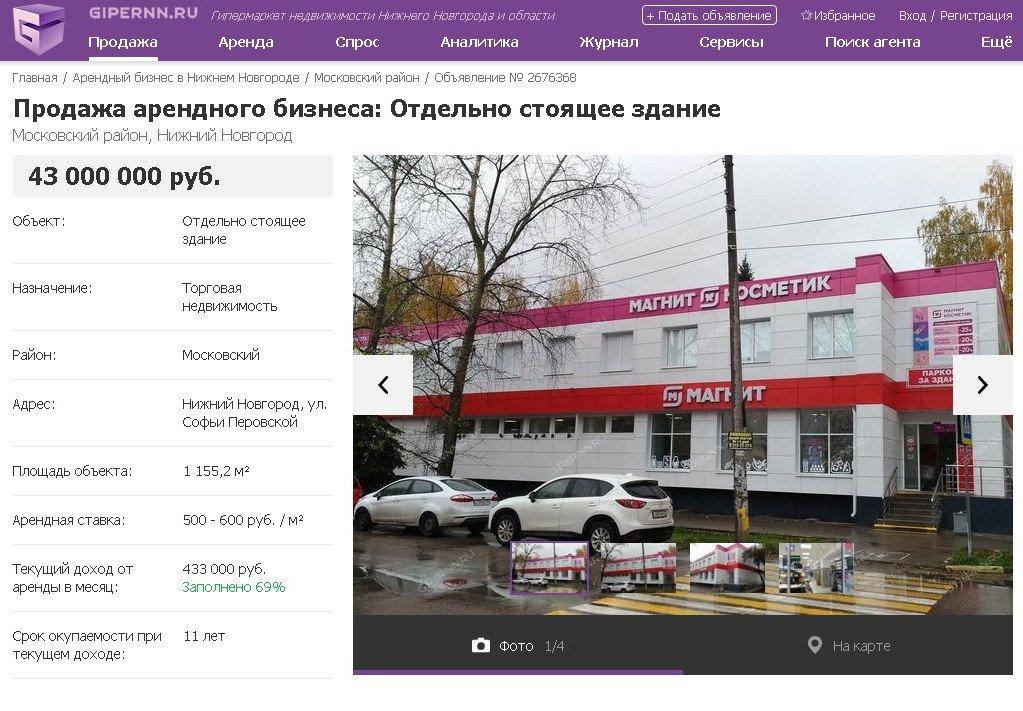 Предложения по продаже арендного бизнеса в Нижнем Новгороде собраны на Gipernn.ru - фото 2
